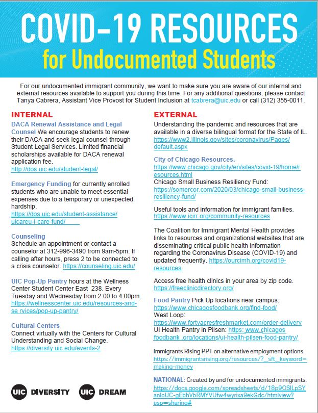 the words COVID-19 Resources for Undocumented Students appear in white and yello on a blue background in the top fifth of the paper. Under it includes a list of available resources internal and external to UIC. the bottom as the logos for the office of diversity and UIC Dream in black.