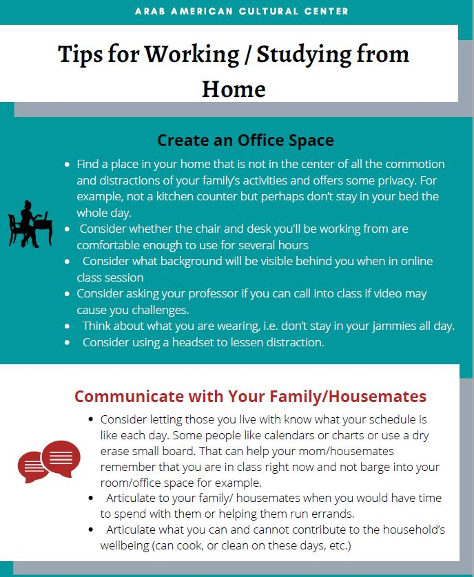 Top in white has writing Tips for Working/Studying from Home, followed writing in white on teal background with tips for creating office space, followed by a band in white with tips on communicating with your family