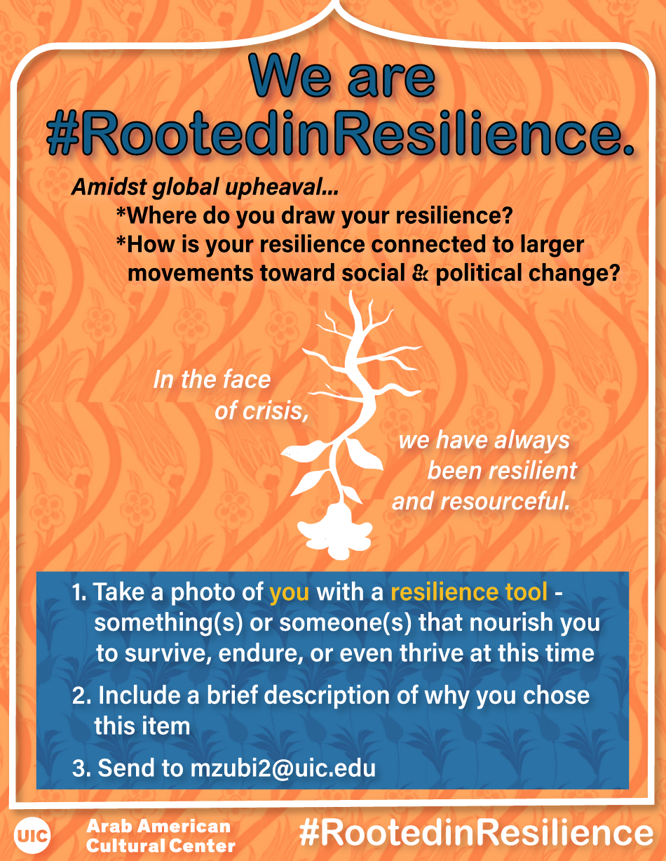 An orange background with a white border. Writing on top is in blue statign we Are #Rootedinresilience. Additional writing gives details about the campaign. In teh Center there is a drawing in white of an upside down flower with its roots extending updwards. A blue box below it has writings in blue that explain what to submit and where. Center logo is a tthe bottom.
