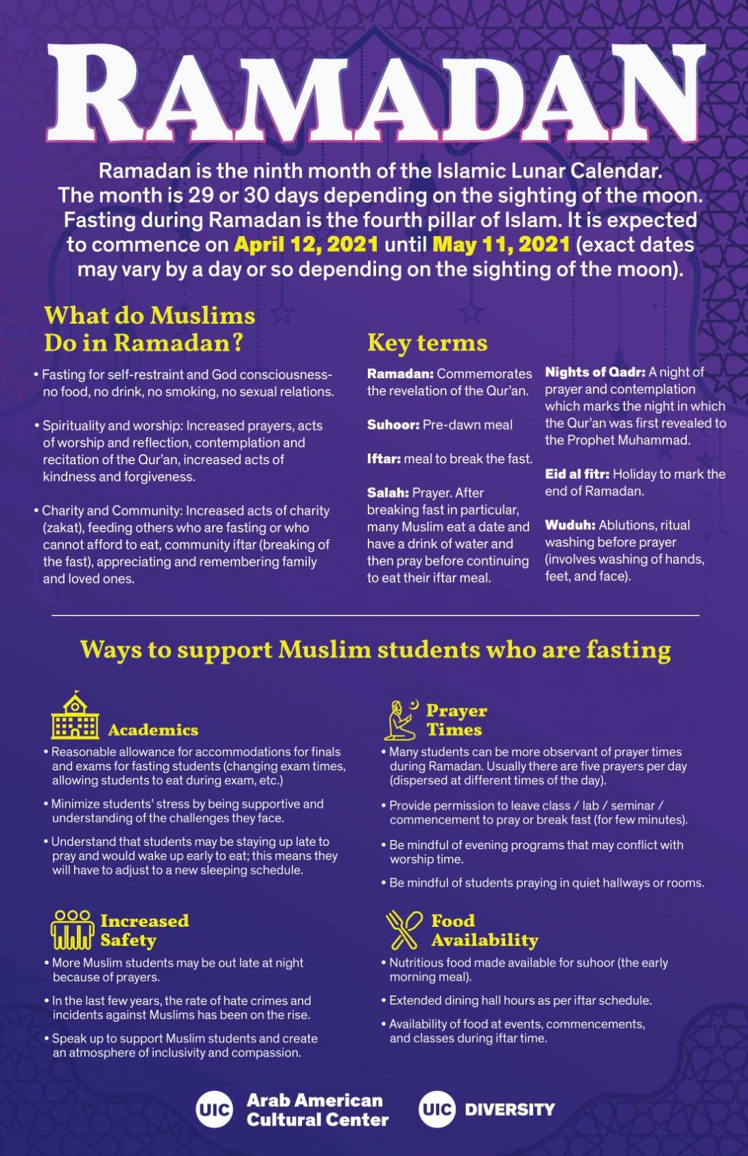 Flyer background is purple to blue with an imprint of geometric art. The top has the word Ramadan in large white font. The rest of the flyer has informaiton about Ramadan in white and yellow font.
