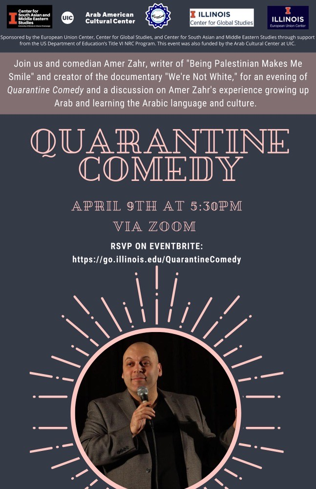 Bluish grey background with a big sun circle at the bottom holding a photograph of an Arab bald man holding a microphone and wearing a brown suit type jacket over a black shirt. The top has logos of the orgs in a line followed by a horizontal band with the name of the organizations and in the middle writign in light pink and white of the time and date and RSVP link to the event.