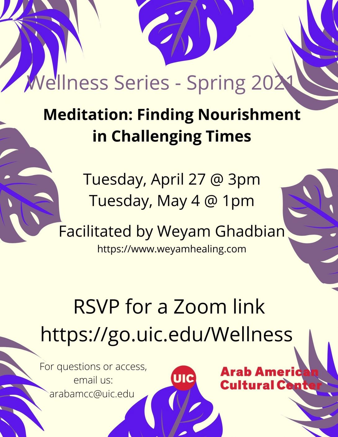 Lavendar and purple tree leaves surround an off white flyer with information about the different events, the faciltiator, the link to RSVP and the logo of the center from top to bottom.
